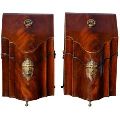Pair of George III Period Serpentine Mahogany Knife Boxes English, circa 1770