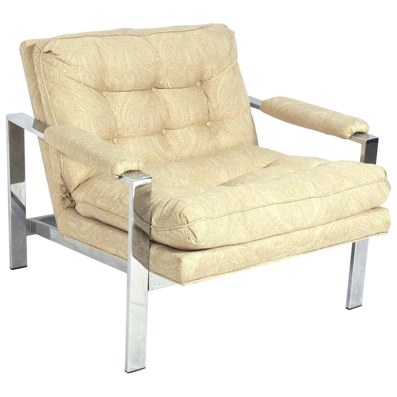 Clean Lined Chrome Lounge Chair by Milo Baughman
