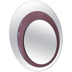 1970s Italian Two-Tone Circular Murano Glass Mirror