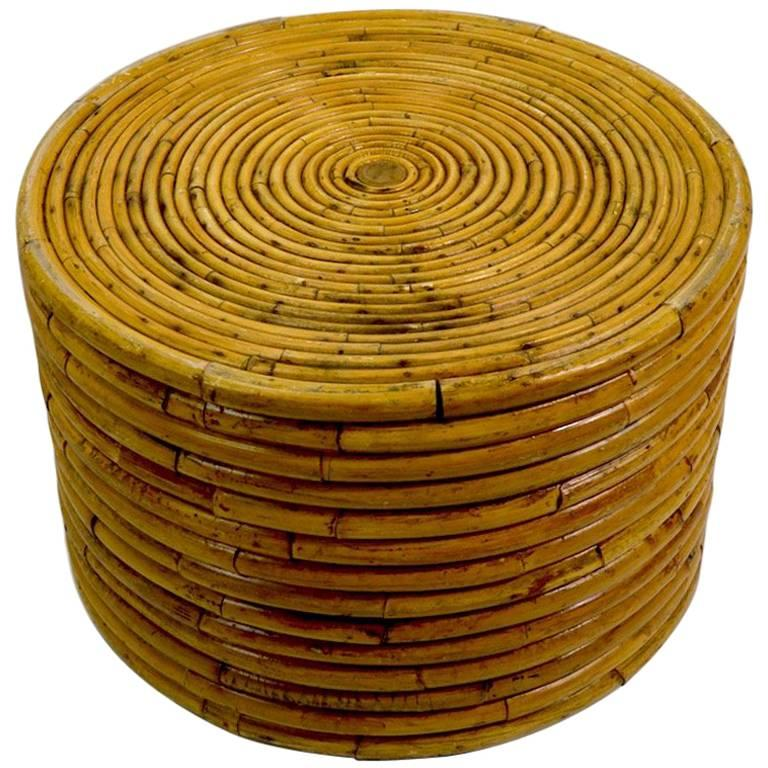 Circular Rattan Bamboo End Table