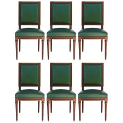 Six Dining Chairs French Louis XVI Revival Green Leather Upholstered, circa 1920