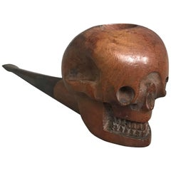 Rare Early 20th Century Hand-Carved and Handcrafted Burl Walnut Human Skull Pipe