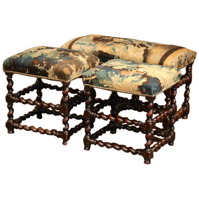 Set of 19th Century French Carved Walnut Stools and Bench with Aubusson Tapestry