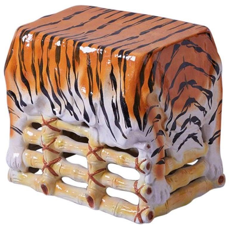 1960 Italian Ceramic Stool Tiger