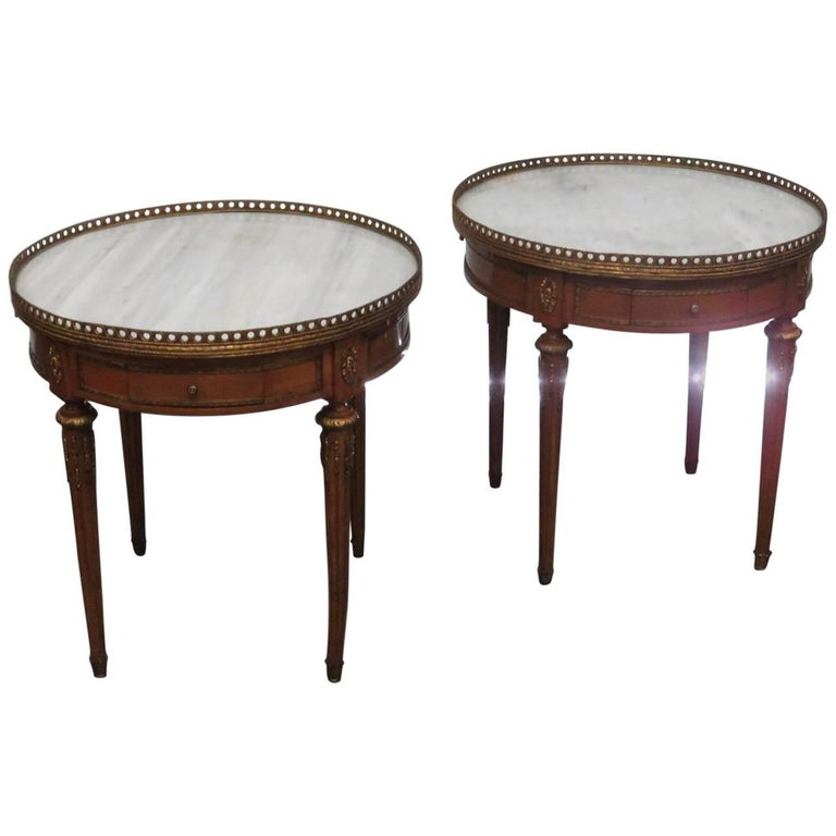Pair of Jansen Style Marble-Top End Tables