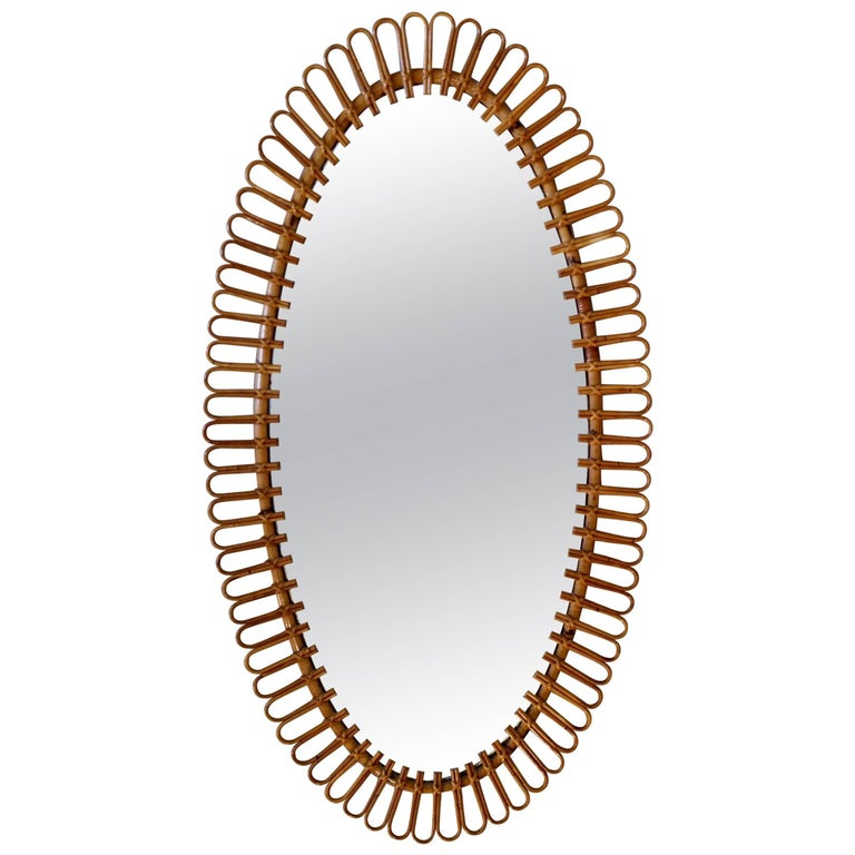 Oval Mirror Made of Bamboo and Rattan, circa 1950