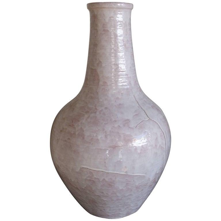 Large Glazed White Ceramic Vase Signed Edouard Cazaux Late 1960