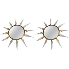 Pair of Midcentury Italian Murano Glass and Brass Sole Mirrors