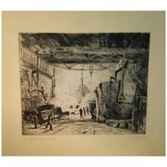 Artur Zahn 20th Century Industrial Design Original Dry Point Etching, circa 1925