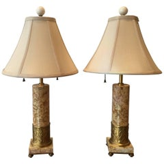 Pair of Art Deco Sienna Marble and Gilt Bronze Lamps