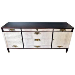 Midcentury Walnut Credenza Sideboard with Bleached Doors and Brass Pulls