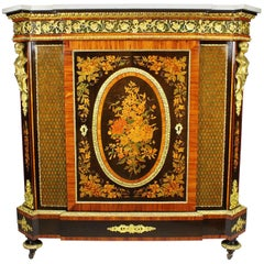 French Napoleon III Gilt Bronze Mounted & Marquetry Side Cabinet with Marble Top