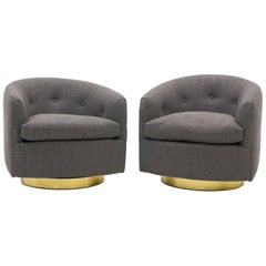 Pair of Milo Baughman Tilt Swivel Club Chairs, Charcoal Gray Maharam Fabric