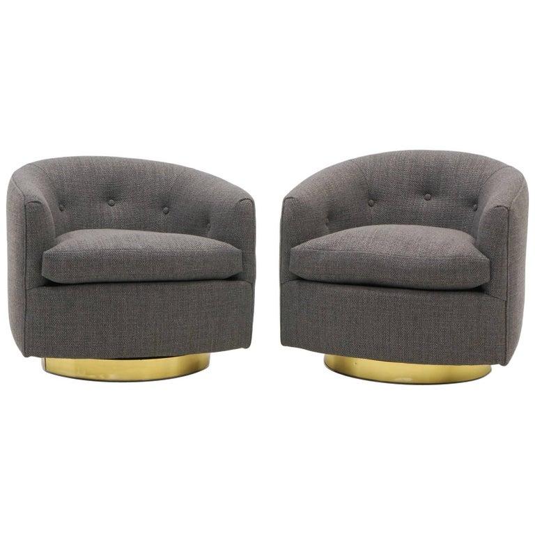 Pair Of Milo Baughman Tilt Swivel Club Chairs Charcoal Gray Maharam Fabric For