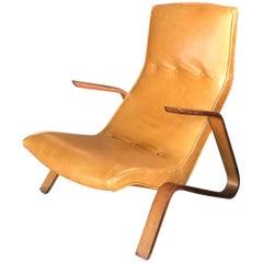 "Earl Eero Saarinen ""Grasshopper"" Lounge Chair in Caramel Leather"