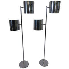 Chrome Sail or Kite Shaded Floor Lamps Attributed to Robert Sonneman