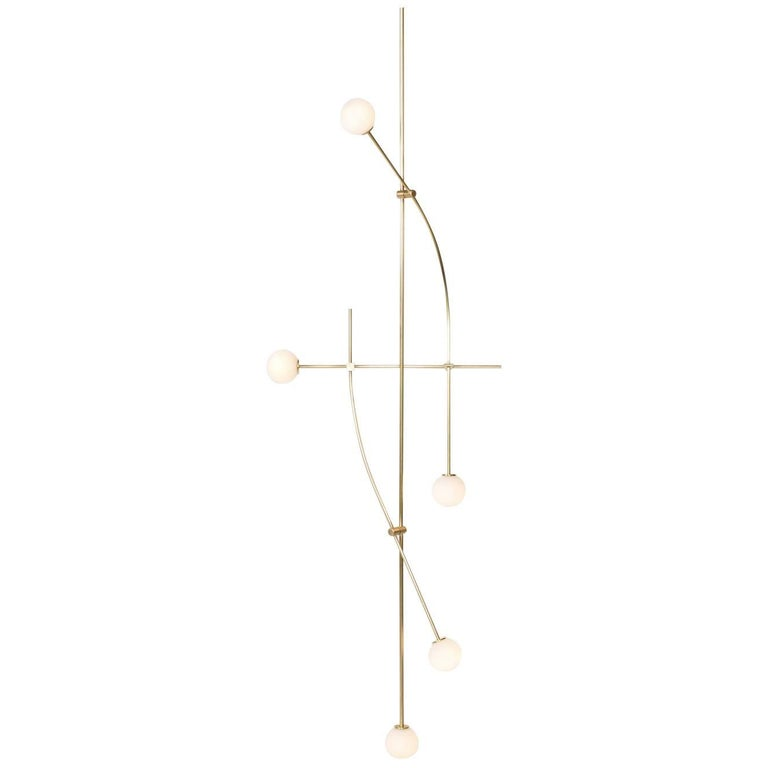 8' Tall Tempo Chandelier in Satin Brass with Handblown Glass Globes