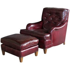 American 1940s Chesterfield Club Chair and Ottoman with Deep Burgundy Leather