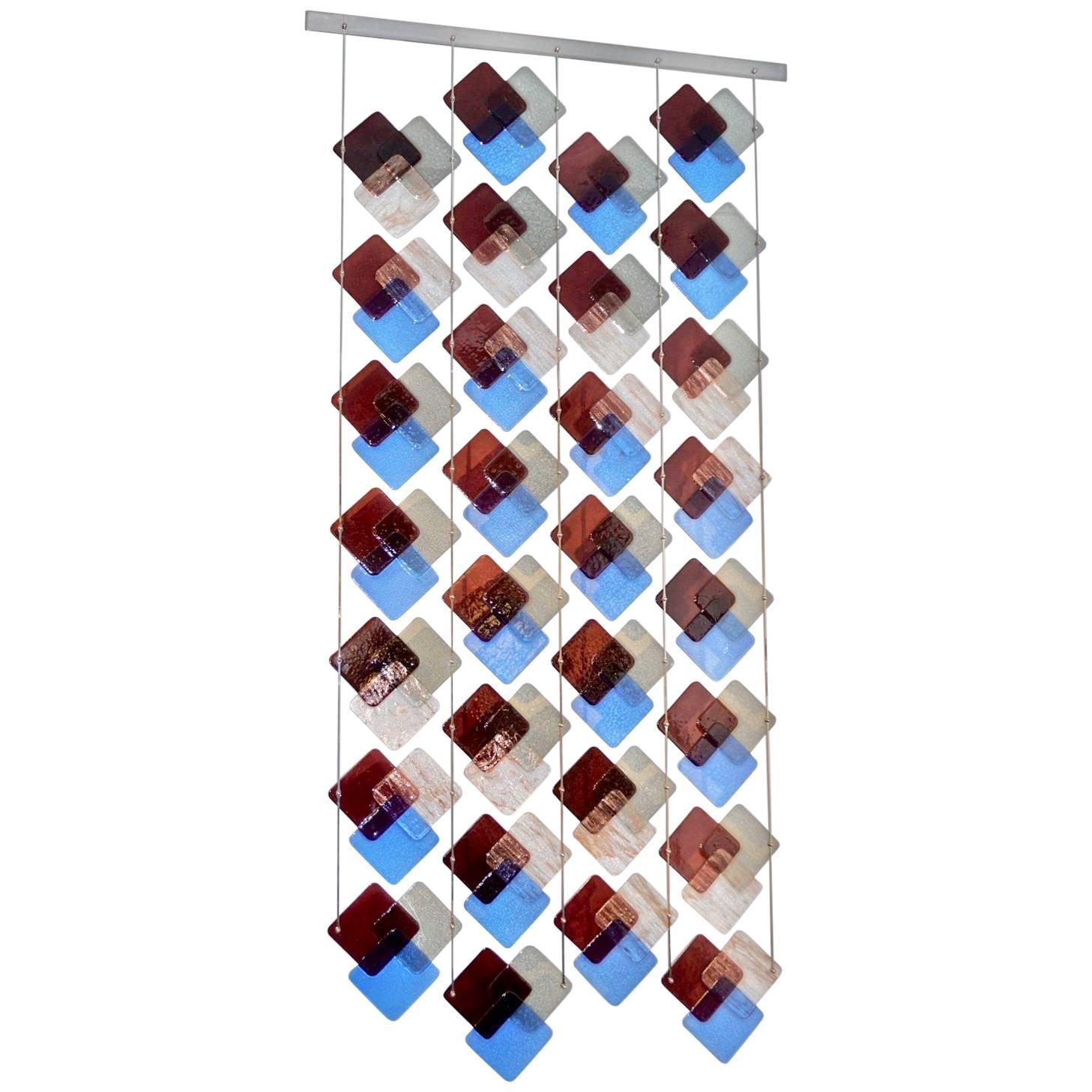 Organic Modern Italian Geometric Gray Purple Aqua Murano Glass Curtain / Divider