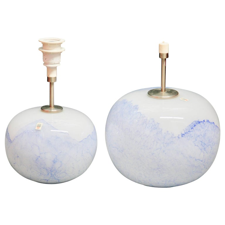 """Two white and blue """"Jasmin"""" lamps Holmegaard Lamps design Mutsuo Inoue 1984"""