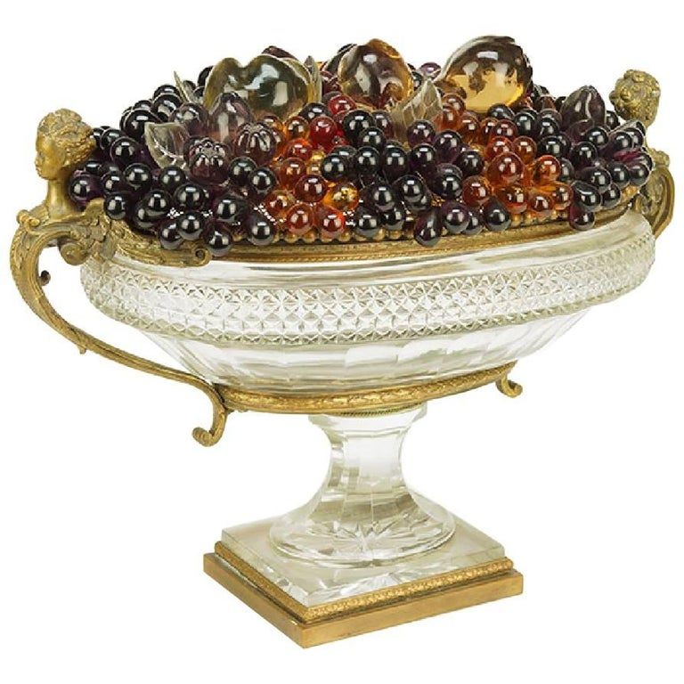 Baccarat Style Bronze-Mounted Cut Crystal Center Bowl with Flowers