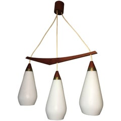 1960s Danish Teak and Milk Glass Chandelier