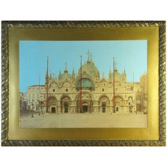 Impressive Hand-Tinted Albumen Mammoth Plate Print of Basilica San Marco Venice