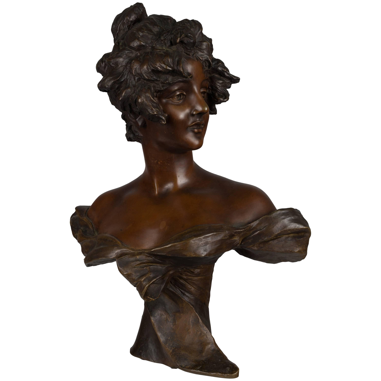 French Art Nouveau Bronze Bust by Van der Straeten