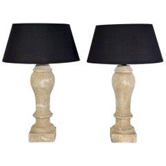 Pair of Antique Stone Baluster Lamps