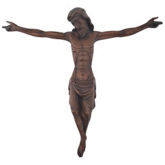 Rare Early 1800s Gorgeous Hand Carved French Wooden Christ