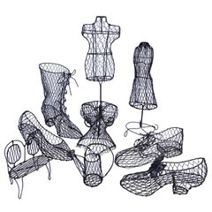Collection of Nine French Handmade Wire Art Decorations, Mid-1900s