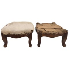 Pair of Wooden French Régence Footstools Stuffed with Straw, Early 1800s