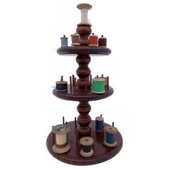 Three-Tiered Wooden Circular Thread Spool Caddy with Curved Detail Early 1900s