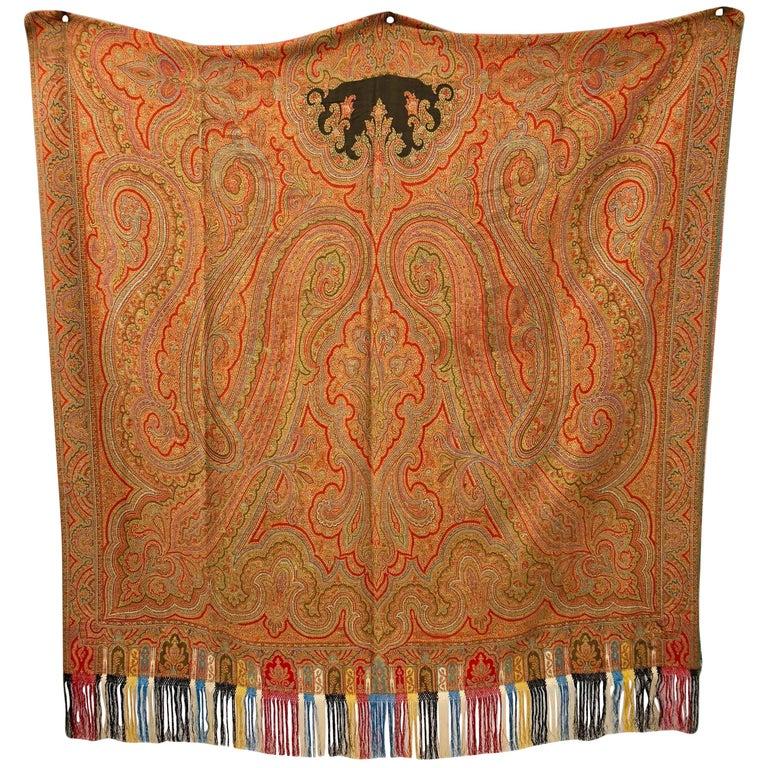 Hand Woven Paisley Kashmir Shawl with Long Fringe, Napoleon III
