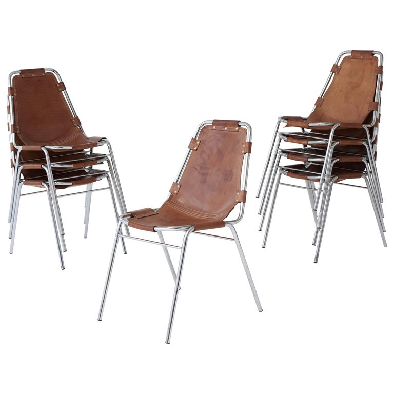 Set of Eight 'Les Arcs' Chairs selected by Charlotte Perriand, 1970s
