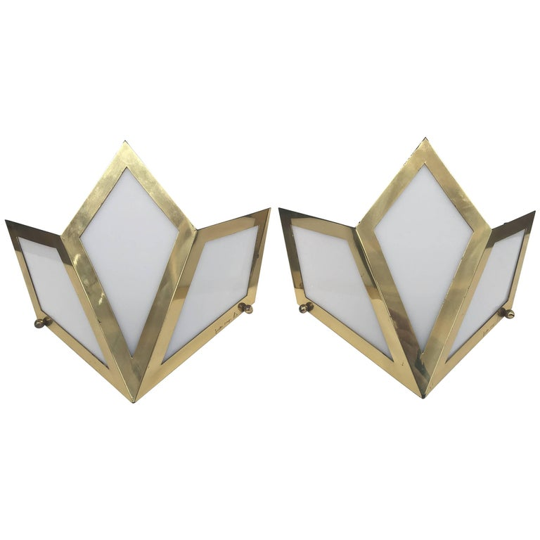 Elegant Pair of Wall Lights Signed Gabriella Crespi For Sale