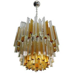 Vintage Murano Chandelier, 107 Prism Triedri, Arianna Model, Amber and Traspa