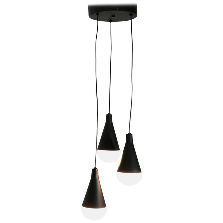 Italian Midcentury Three Pendant Lamps Chandelier 1950s For Sale