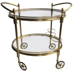 Vintage French Brass Oval Drinks Trolley/Bar Cart