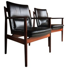 Pair of Arne Vodder Model 431 Leather and Rosewood Armchairs, Sibast Furniture