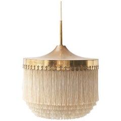 Hans Agne Jakobsson Brass and Silk Fringe Pendant Lamp, Sweden, 1960s