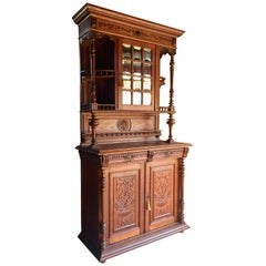 French Buffet Cabinet Dresser Cupboard Oak Antique 19th Century