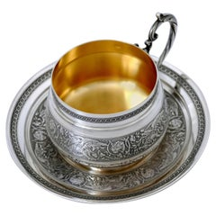 Imposing French Sterling Silver 18-Karat Gold Chocolate Tea Cup & Saucer, Dragon