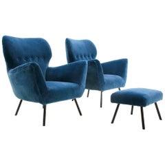 Italian Midcentury Blue Velvet Armchairs with Ottoman, 1950s