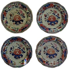 Four Early Mason's Ironstone Desert Plates in Water Lily Pattern, circa 1815