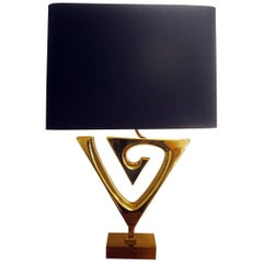 Table Lamp in Gilt Brass by Willy Daro, Belgium, Black/Gold Lampshade circa 1970