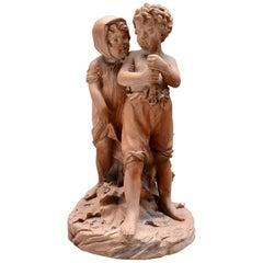 Terracotta Statue Depicting Two Children, 19th Century