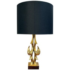 Table Lamp in Gilt Brass by Willy Daro, Black/Gold Lampshade, 1970s
