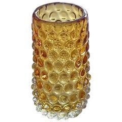 Barovier Seguso & Ferro Murano Art Glass Vase Honey Yellow Amber Italy, 1940s