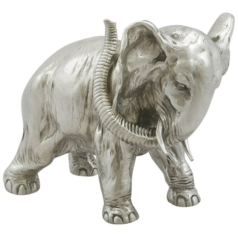 1890s Antique Russian Silver Table Ornament of an Elephant by Karl Fabergé
